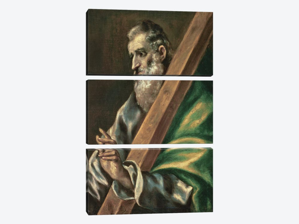 St. Andrew (Museum Of Fine Arts - Budapest) by El Greco 3-piece Canvas Art