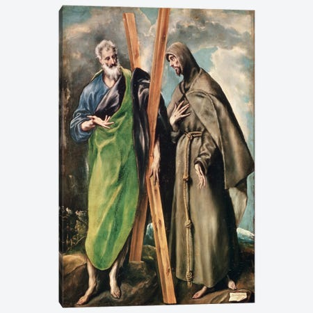 St. Andrew And St. Francis Of Assisi 3-Piece Canvas #BMN6183} by El Greco Canvas Wall Art