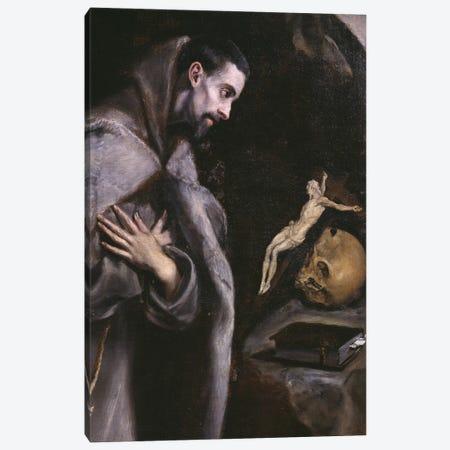 St. Francis Meditating, c.1586-92 (Museo Diocesano de Arte Sacro) Canvas Print #BMN6187} by El Greco Art Print