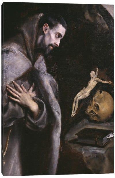 St. Francis Meditating, c.1586-92 (Museo Diocesano de Arte Sacro) Canvas Art Print