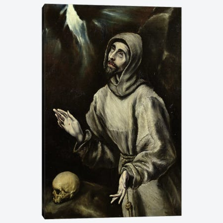 St. Francis Of Assisi Receiving The Stigmata, c.1595 (Musee des Beaux-Arts de Pau) Canvas Print #BMN6189} by El Greco Canvas Wall Art