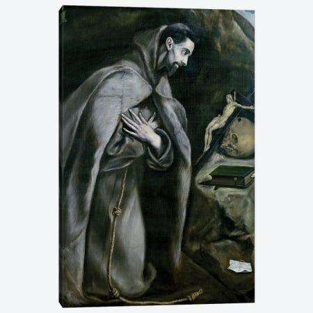 St. Francis Of Assisi, 1580-95 (Palais des Beaux-Arts de Lille) Canvas Print #BMN6190} by El Greco Canvas Art Print