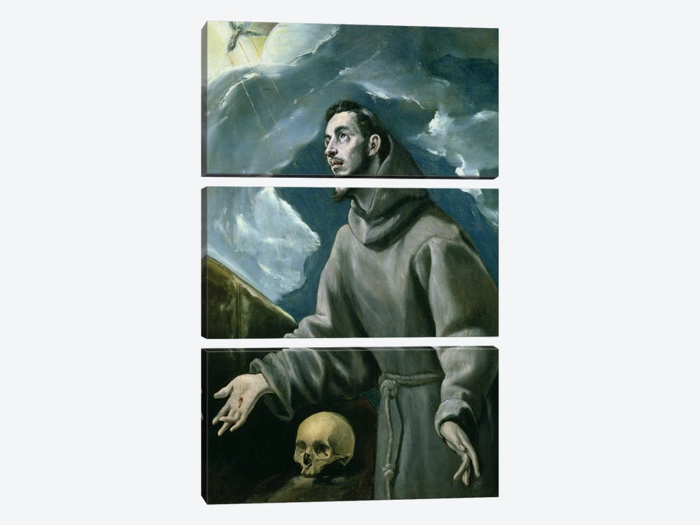 St. Francis Receiving The Stigmata (Private Collection) by El Greco 3-piece Canvas Art