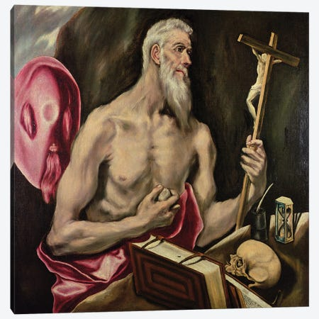 St. Jerome Canvas Print #BMN6197} by El Greco Canvas Artwork