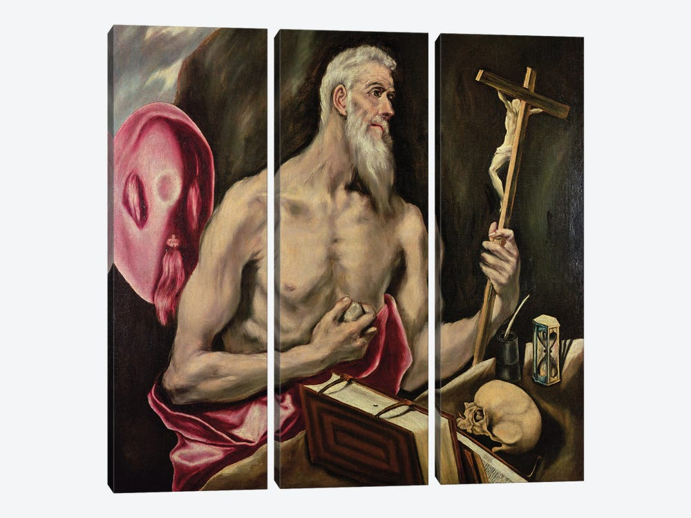 St. Jerome by El Greco 3-piece Canvas Art