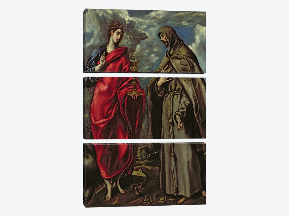 St. John The Evangelist And St. Francis, c.1600 by El Greco 3-piece Canvas Wall Art