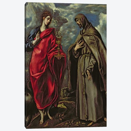 St. John The Evangelist And St. Francis, c.1600 3-Piece Canvas #BMN6200} by El Greco Art Print