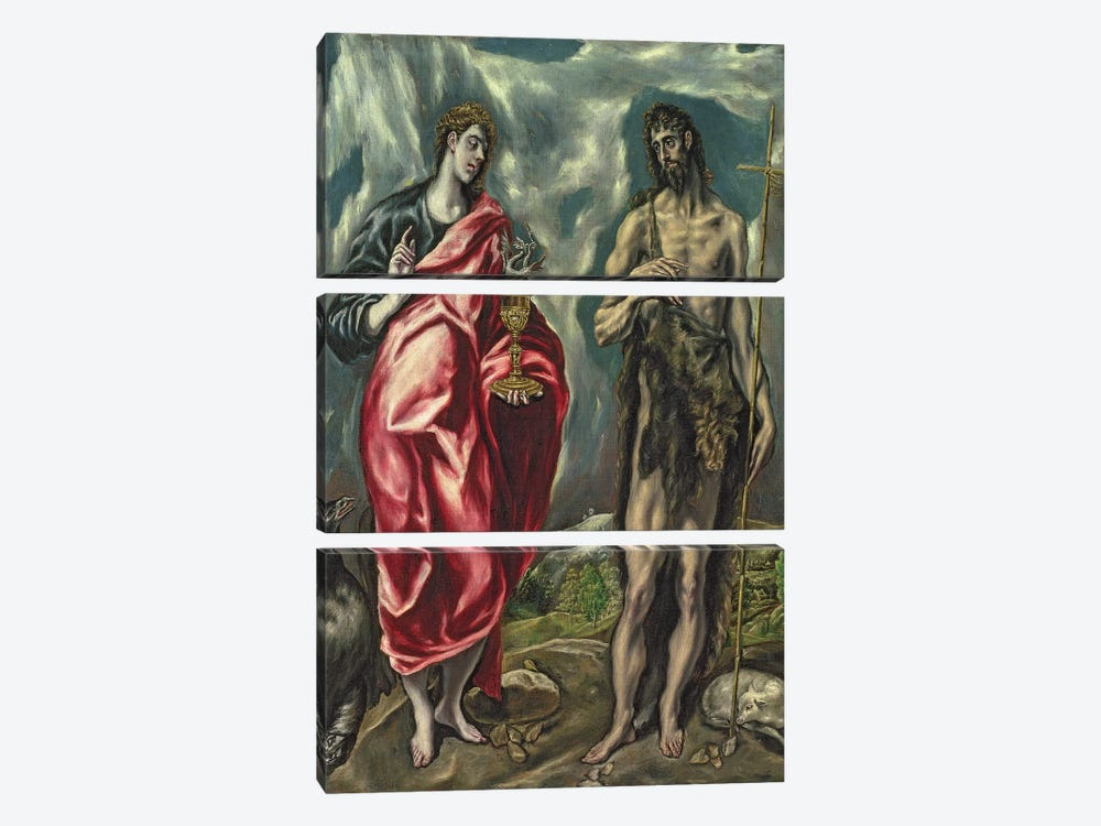 St. John The Evangelist And St. John The Baptist, 1605-10 by El Greco 3-piece Art Print