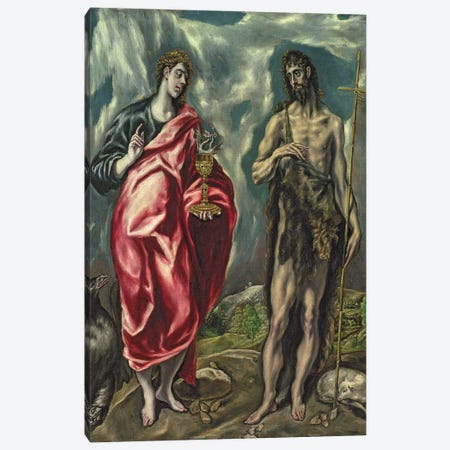 St. John The Evangelist And St. John The Baptist, 1605-10 3-Piece Canvas #BMN6201} by El Greco Canvas Print