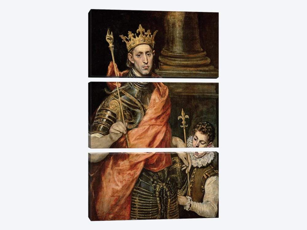 St. Louis And His Page, c.1585-90 by El Greco 3-piece Canvas Art