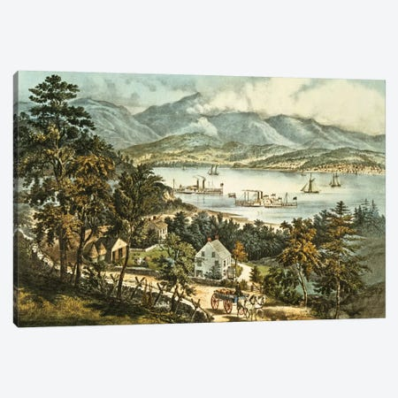 The Catskill Mountains from the Eastern shore of the Hudson  Canvas Print #BMN620} by N. Currier Canvas Artwork