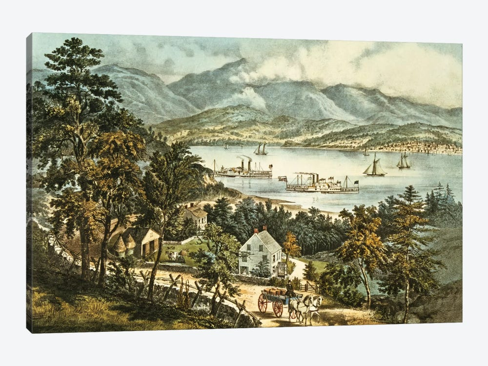 The Catskill Mountains from the Eastern shore of the Hudson by N. Currier 1-piece Canvas Print