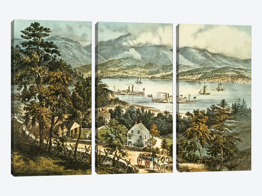 The Catskill Mountains from the Eastern shore of the Hudson  by N. Currier 3-piece Canvas Print