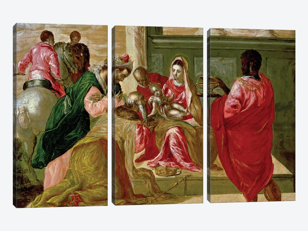 The Adoration Of The Magi, 1567-70 by El Greco 3-piece Art Print
