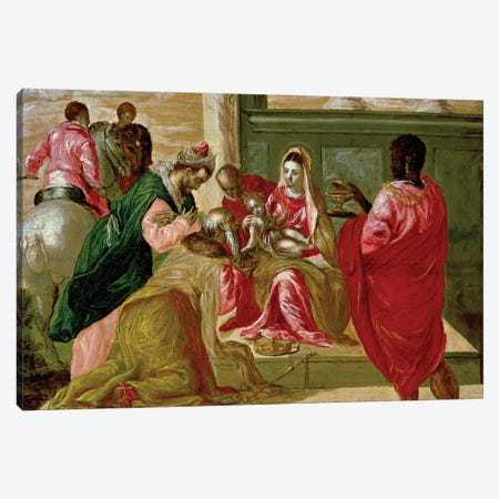The Adoration Of The Magi, 1567-70 Canvas Print #BMN6210} by El Greco Canvas Wall Art