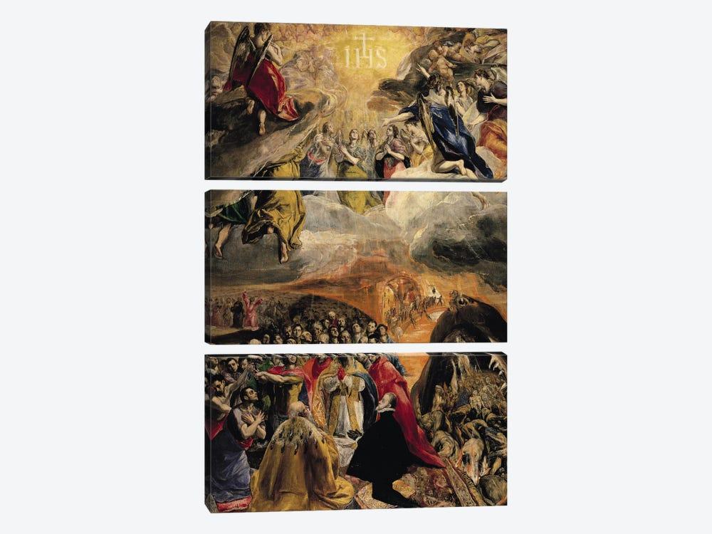 The Adoration Of The Name Of Jesus, c.1578 (Monasterio de El Escorial) by El Greco 3-piece Canvas Artwork