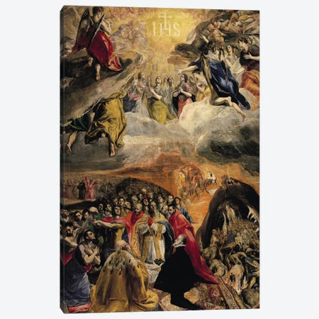 The Adoration Of The Name Of Jesus, c.1578 (Monasterio de El Escorial) Canvas Print #BMN6211} by El Greco Canvas Art