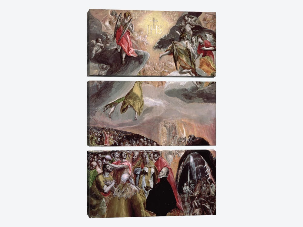 The Adoration Of The Name Of Jesus, c.1578 (National Gallery - London) by El Greco 3-piece Canvas Print