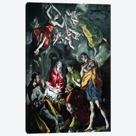The Adoration Of The Shepherds (The Original Santo Domingo el Antiguo Altarpiece), c.1603-14 (Museo del Prado) Canvas Print #BMN6213} by El Greco Canvas Art