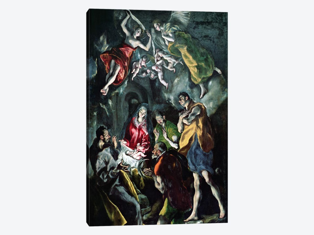 The Adoration Of The Shepherds (The Original Santo Domingo el Antiguo Altarpiece), c.1603-14 (Museo del Prado) by El Greco 1-piece Canvas Wall Art