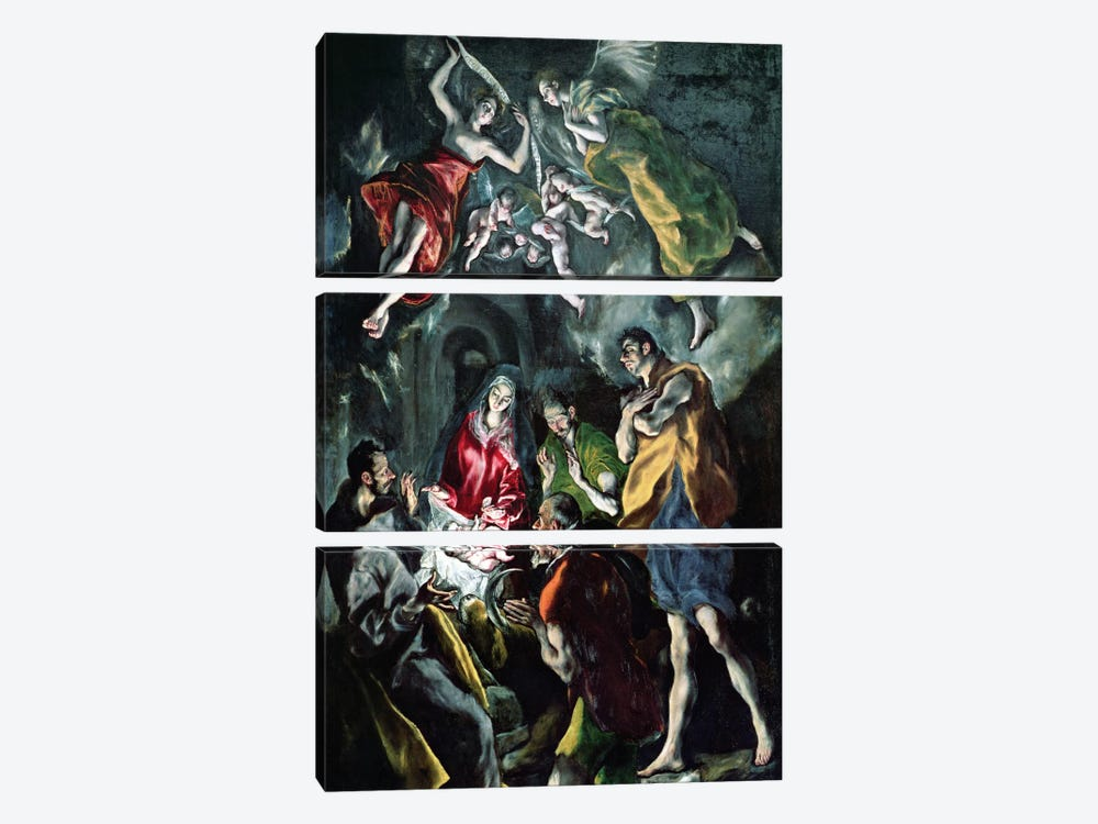 The Adoration Of The Shepherds (The Original Santo Domingo el Antiguo Altarpiece), c.1603-14 (Museo del Prado) by El Greco 3-piece Canvas Wall Art