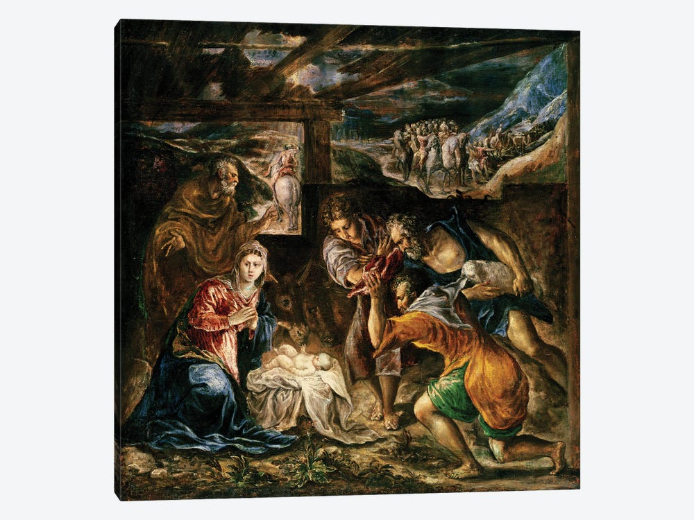 The Adoration Of The Shepherds, 1572-76 (Private Collection) 1-piece Canvas Print