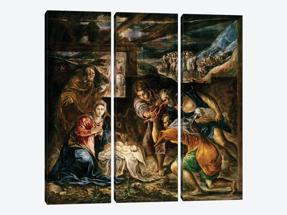 The Adoration Of The Shepherds, 1572-76 (Private Collection) 3-piece Art Print