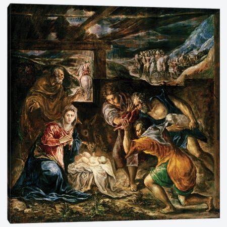 The Adoration Of The Shepherds, 1572-76 (Private Collection) Canvas Print #BMN6214} by El Greco Art Print