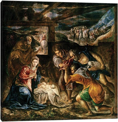 The Adoration Of The Shepherds, 1572-76 (Private Collection) Canvas Art Print