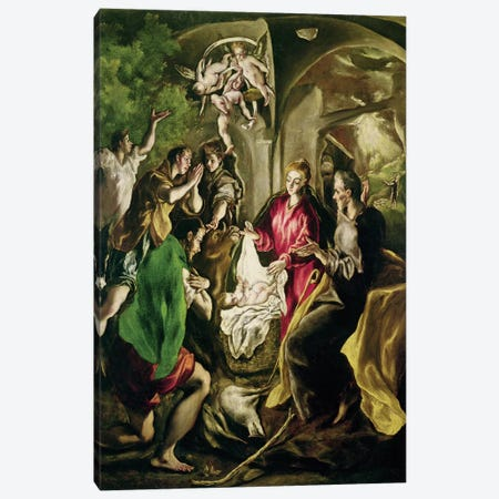 The Adoration Of The Shepherds, 1603-05 (Museo del Patriarca) Canvas Print #BMN6215} by El Greco Canvas Art Print