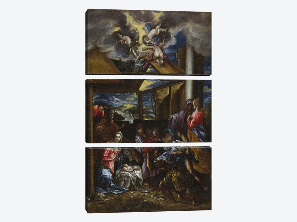 The Adoration Of The Shepherds, c.1576-77 (San Diego Museum Of Art) by El Greco 3-piece Canvas Art Print