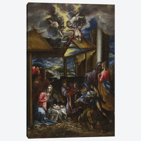 The Adoration Of The Shepherds, c.1576-77 (San Diego Museum Of Art) Canvas Print #BMN6216} by El Greco Canvas Print