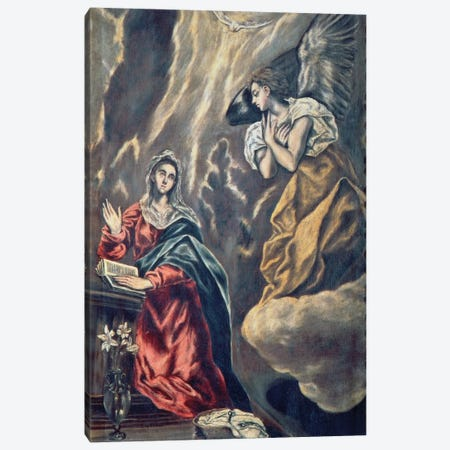 The Annunciation (Museo de Santa Cruz) Canvas Print #BMN6219} by El Greco Canvas Wall Art