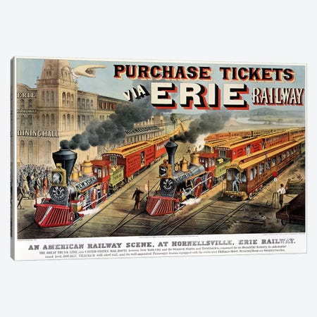 The American Railway Scene at Hornellsville, Erie Railway  Canvas Print #BMN621} by N. Currier Canvas Artwork