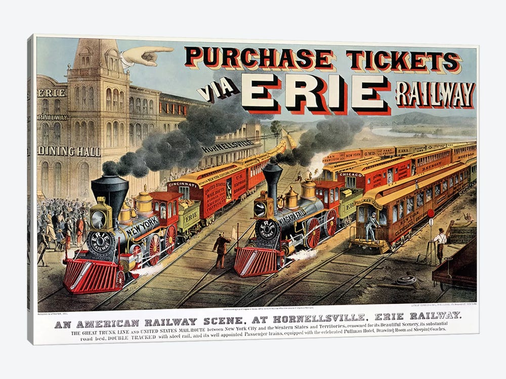 The American Railway Scene at Hornellsville, Erie Railway  by N. Currier 1-piece Canvas Art