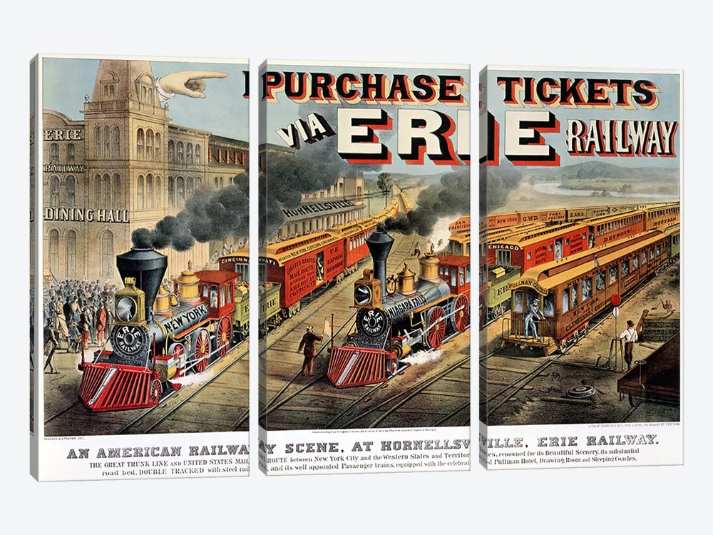 The American Railway Scene at Hornellsville, Erie Railway  by N. Currier 3-piece Canvas Art