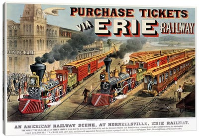 The American Railway Scene at Hornellsville, Erie Railway  Canvas Art Print