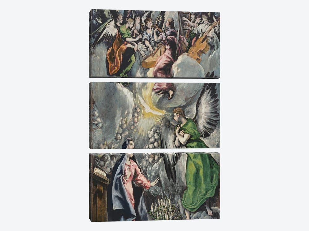 The Annunciation (Museo del Prado) by El Greco 3-piece Canvas Artwork