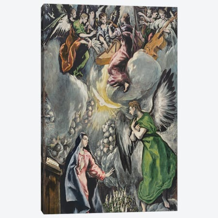 The Annunciation (Museo del Prado) 3-Piece Canvas #BMN6220} by El Greco Canvas Print