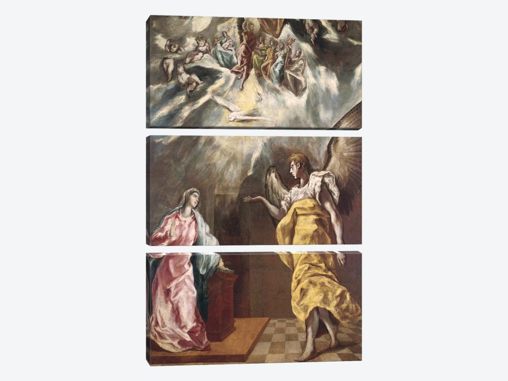 The Annunciation (Private Collection) by El Greco 3-piece Canvas Art Print