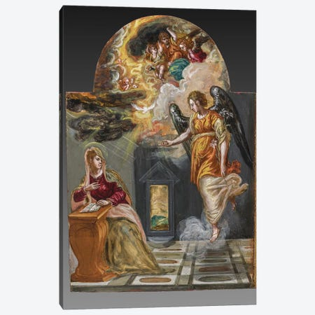 The Annunciation, (Back Side Of Right Panel From El Greco's Portable Altar) Canvas Print #BMN6222} by El Greco Canvas Art Print