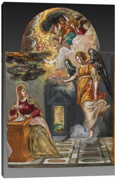 The Annunciation, (Back Side Of Right Panel From El Greco's Portable Altar) Canvas Print #BMN6222