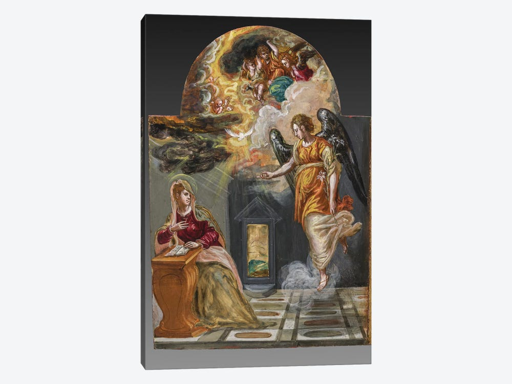 The Annunciation, (Back Side Of Right Panel From El Greco's Portable Altar) by El Greco 1-piece Canvas Art