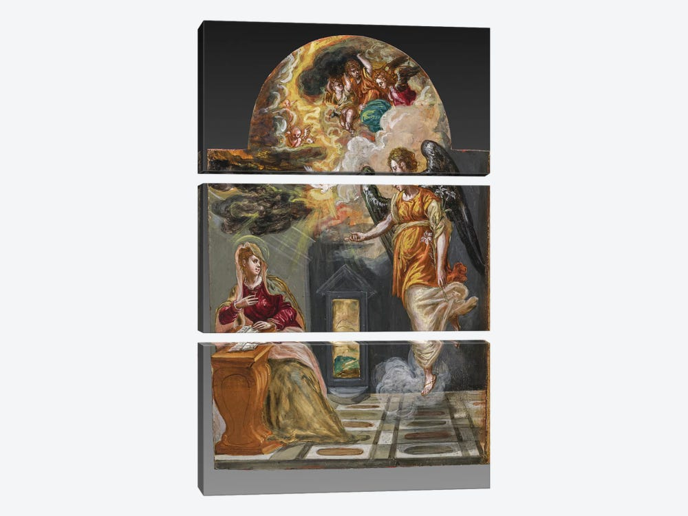 The Annunciation, (Back Side Of Right Panel From El Greco's Portable Altar) by El Greco 3-piece Canvas Art