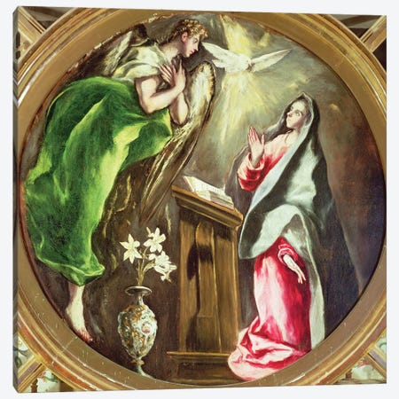 The Annunciation, 1597-1603 (Hospital de la Caridad) 3-Piece Canvas #BMN6223} by El Greco Art Print