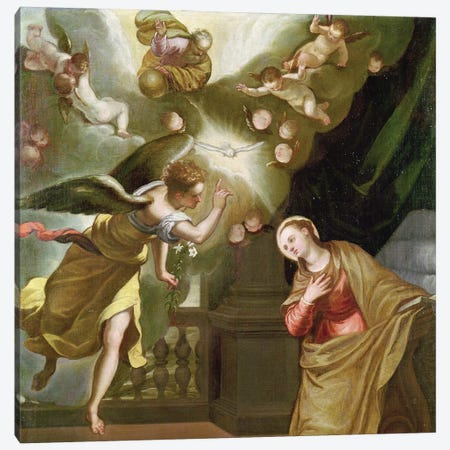The Annunciation, c.1565 (Private Collection) Canvas Print #BMN6224} by El Greco Canvas Wall Art