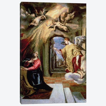 The Annunciation, c.1570-73 (Museo del Prado) Canvas Print #BMN6225} by El Greco Canvas Art