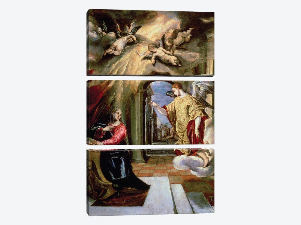 The Annunciation, c.1570-73 (Museo del Prado) by El Greco 3-piece Canvas Print