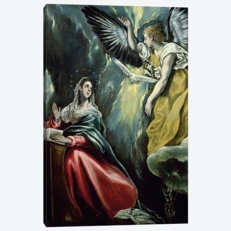 The Annunciation, c.1575 (Private Collection) Canvas Print #BMN6226} by El Greco Canvas Art