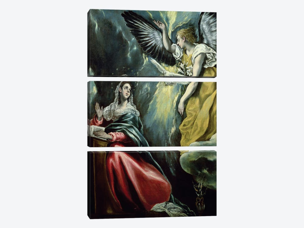 The Annunciation, c.1575 (Private Collection) by El Greco 3-piece Canvas Artwork